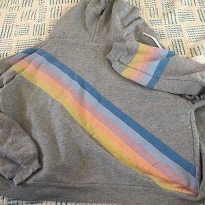 Wildfox rainbow stripe zip up hoodie - M
